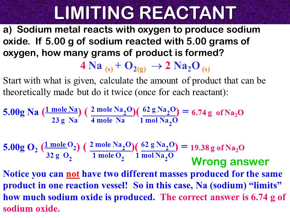 LIMITING REACTANT a) Sodium metal reacts with oxygen to produce sodium oxide. If 5.00 g of sodium reacted with 5.00 grams of oxygen, how many grams of