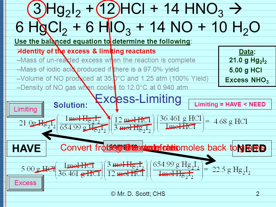 © Mr. D. Scott; CHS2 3 Hg 2 I 2 + 12 HCl + 14 HNO 3  6 HgCl 2 + 6 HIO 3 + 14 NO + 10 H 2 O Use the balanced equation to determine the following:  Id