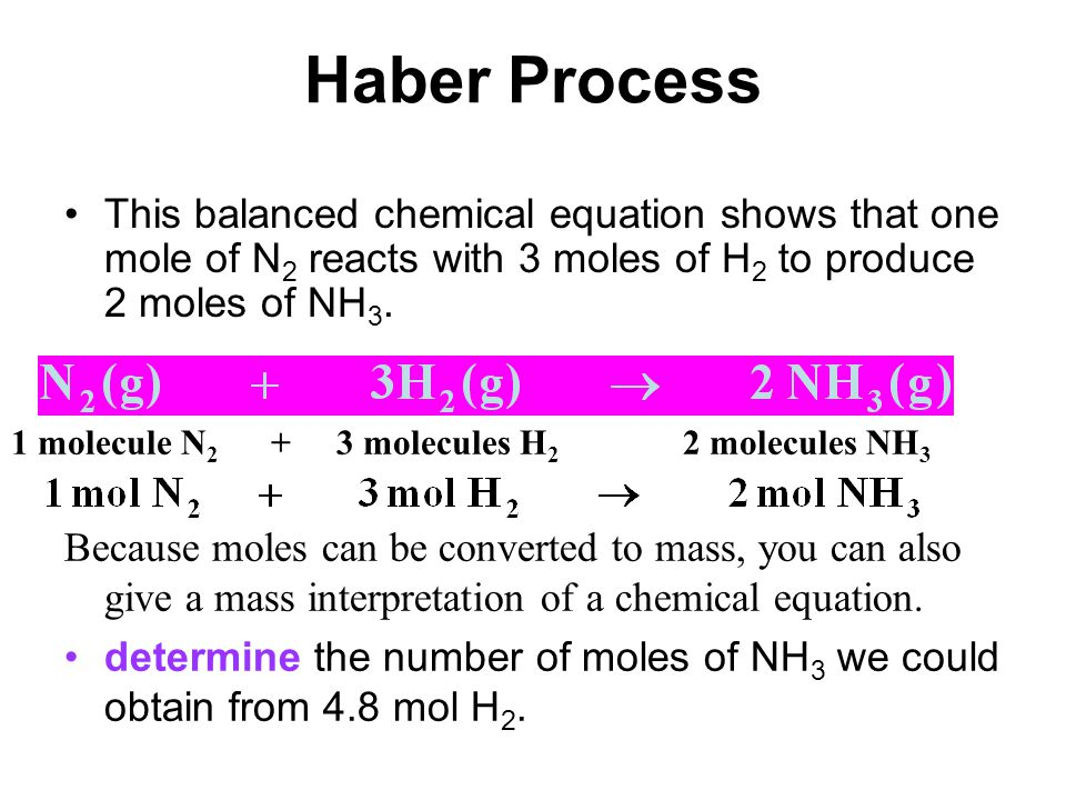 Haber Process This balanced chemical equation shows that one mole of N 2 reacts with 3 moles of H 2 to produce 2 moles of NH 3. Because moles can be c