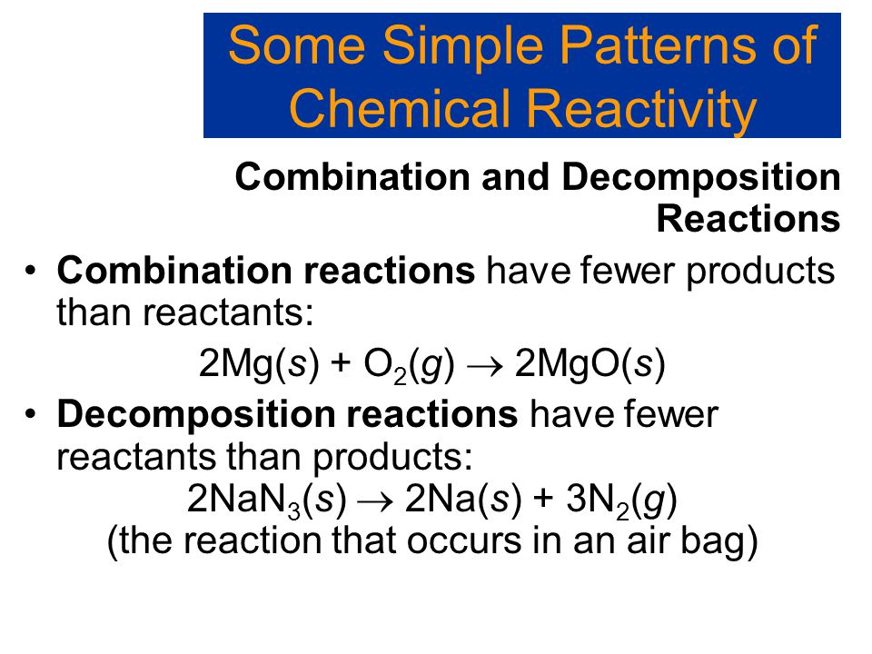 Combination and Decomposition Reactions Some Simple Patterns of Chemical Reactivity