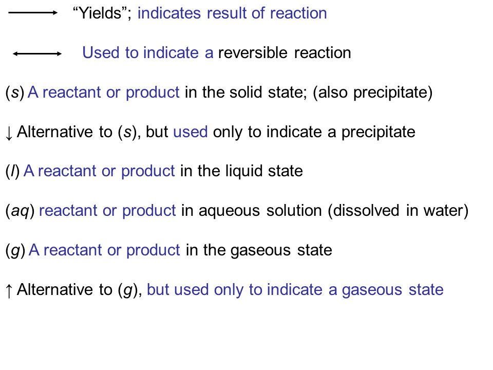 Yields ; indicates result of reaction Used to indicate a reversible reaction (s) A reactant or product in the solid state; (also precipitate) ↓ Alternative to (s), but used only to indicate a precipitate (l) A reactant or product in the liquid state (aq) reactant or product in aqueous solution (dissolved in water) (g) A reactant or product in the gaseous state ↑ Alternative to (g), but used only to indicate a gaseous state