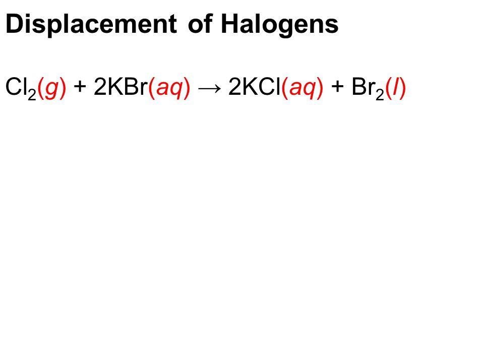 Displacement of Halogens Cl 2 (g) + 2KBr(aq) → 2KCl(aq) + Br 2 (l)