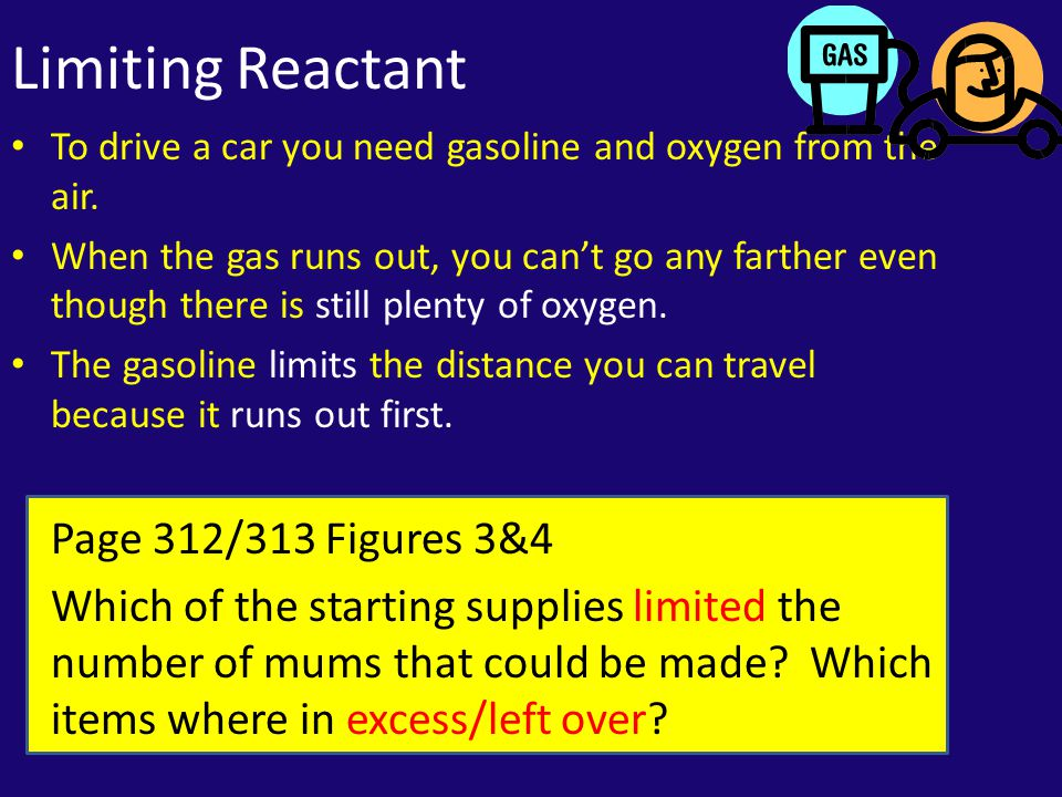 Limiting Reactant To drive a car you need gasoline and oxygen from the air.