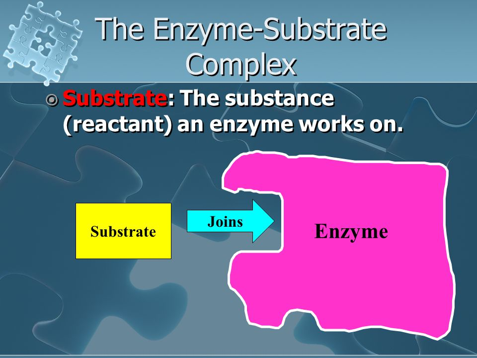 The Enzyme-Substrate Complex  Substrate: The substance (reactant) an enzyme works on.