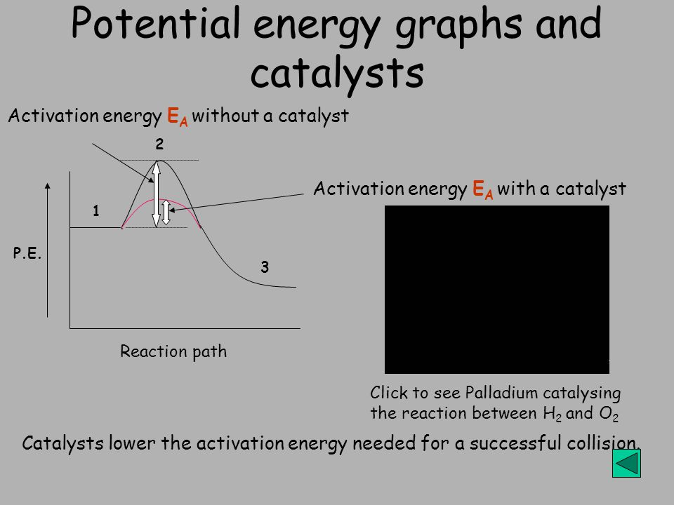 Potential energy graphs and catalysts Catalysts lower the activation energy needed for a successful collision. Activation energy E A without a catalys