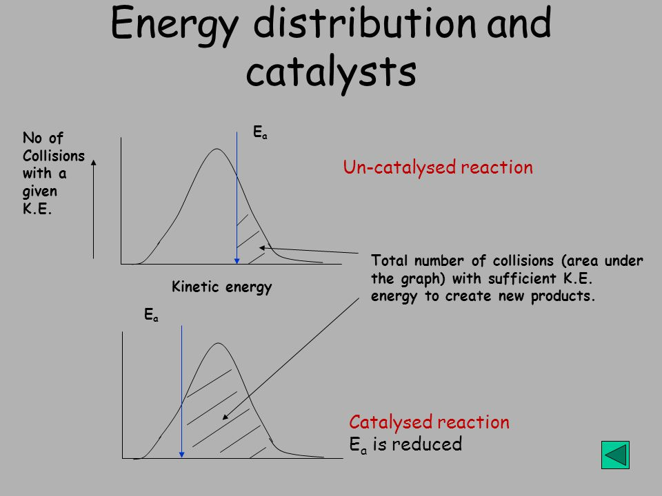 Energy distribution and catalysts Total number of collisions (area under the graph) with sufficient K.E.