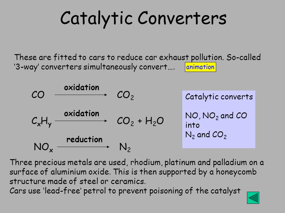 Catalytic Converters These are fitted to cars to reduce car exhaust pollution.