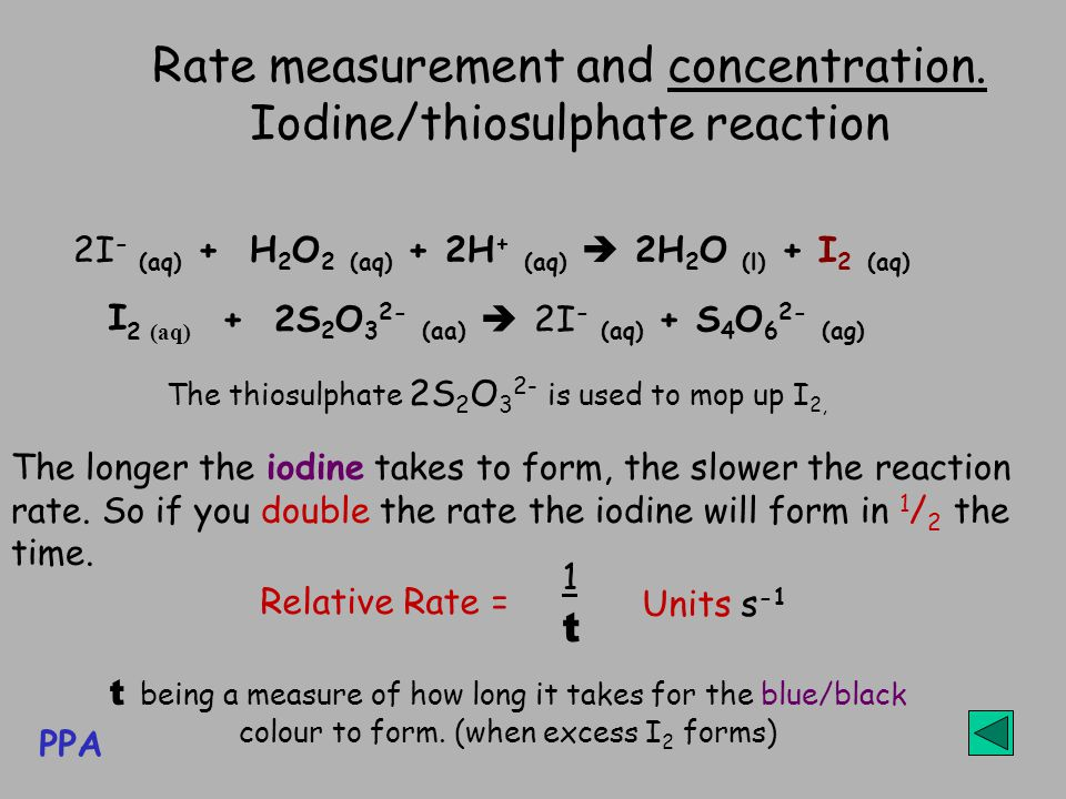 Rate measurement and concentration. Iodine/thiosulphate reaction 2I - (aq) + H 2 O 2 (aq) + 2H + (aq)  2H 2 O (l) + I 2 (aq) The longer the iodine ta
