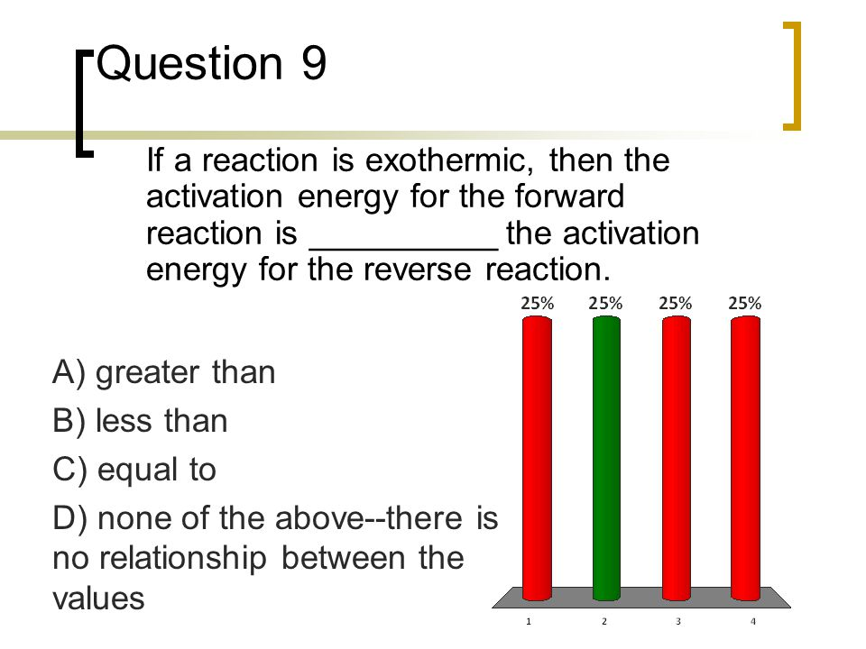 Question 9 If a reaction is exothermic, then the activation energy for the forward reaction is __________ the activation energy for the reverse reacti