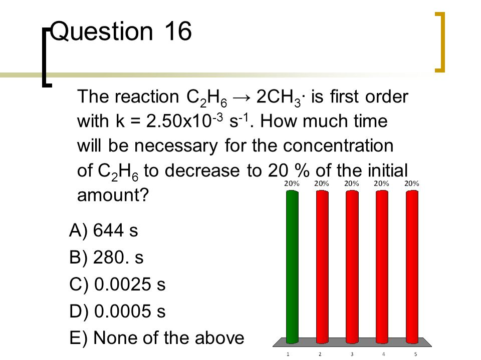Question 16 The reaction C 2 H 6 → 2CH 3 · is first order with k = 2.50x10 -3 s -1. How much time will be necessary for the concentration of C 2 H 6 t