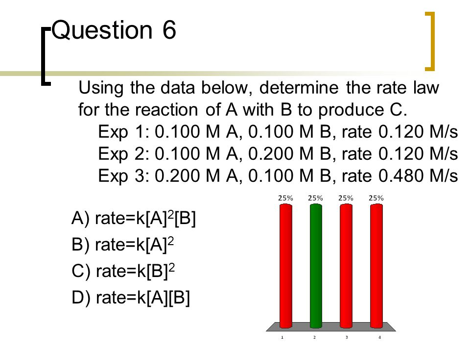 Question 6 Using the data below, determine the rate law for the reaction of A with B to produce C. Exp 1: 0.100 M A, 0.100 M B, rate 0.120 M/s Exp 2: