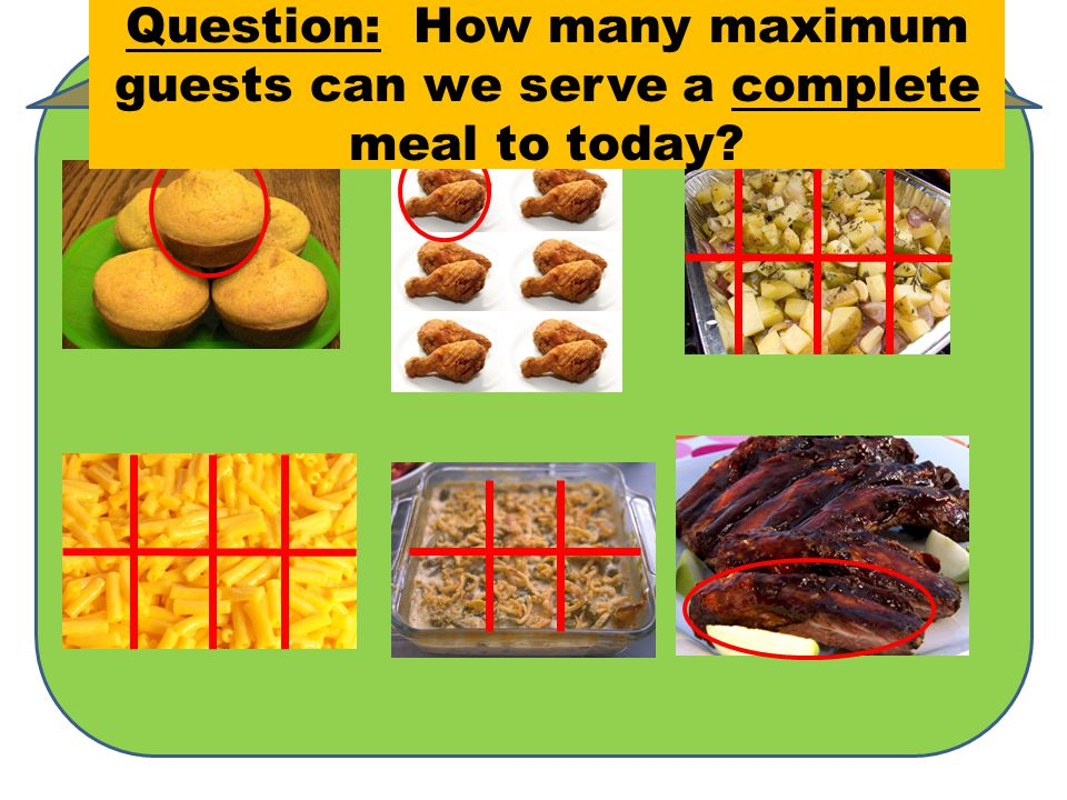 Available Servings5 68 866 Question: How many maximum guests can we serve a complete meal to today?