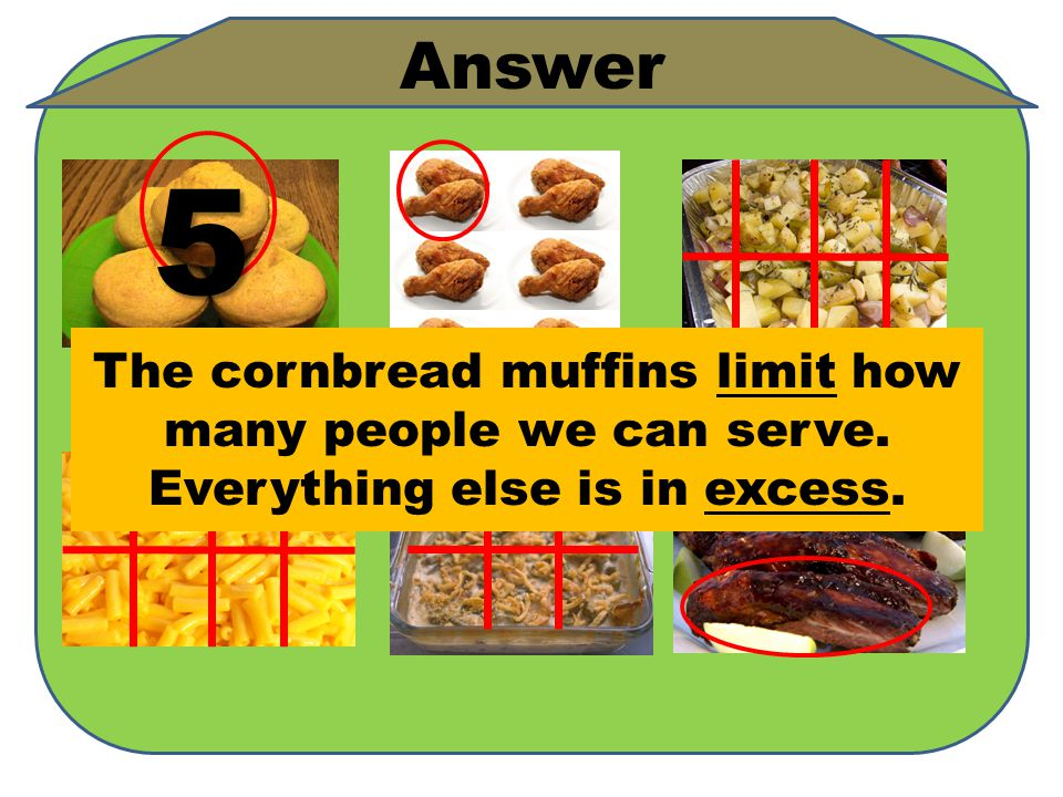 5 The cornbread muffins limit how many people we can serve. Everything else is in excess. Answer