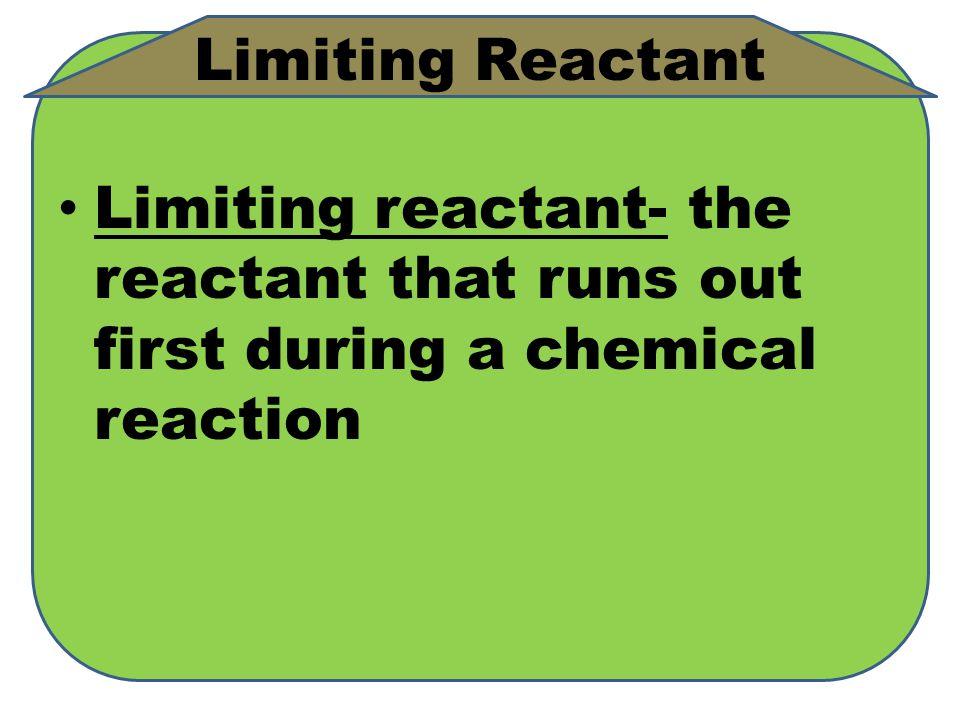 Excess reactant- the reactant that is left after the reaction has stopped Excess Reactant