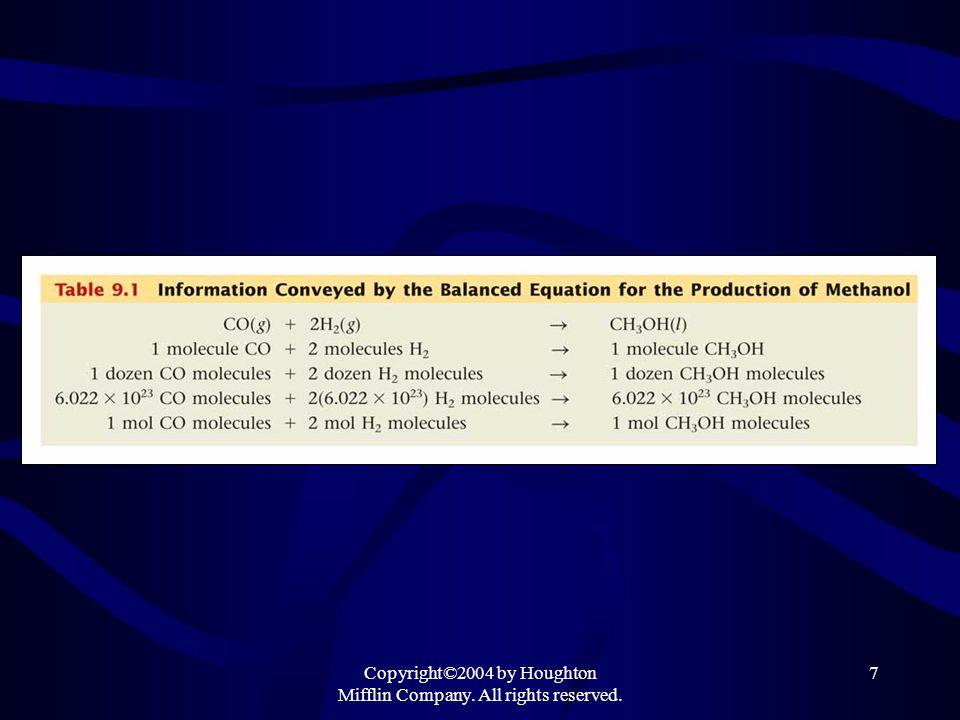8 Information Given by the Chemical Equation 2 CO + O 2  2 CO 2 2 moles CO = 1mole O 2 = 2 moles CO 2 Since 1 mole of CO = 28.01 g, 1 mole O 2 = 32.00 g, and 1 mole CO 2 = 44.01 g 2(28.01) g CO + 1(32.00) g O 2 = 2(44.01) g CO 2