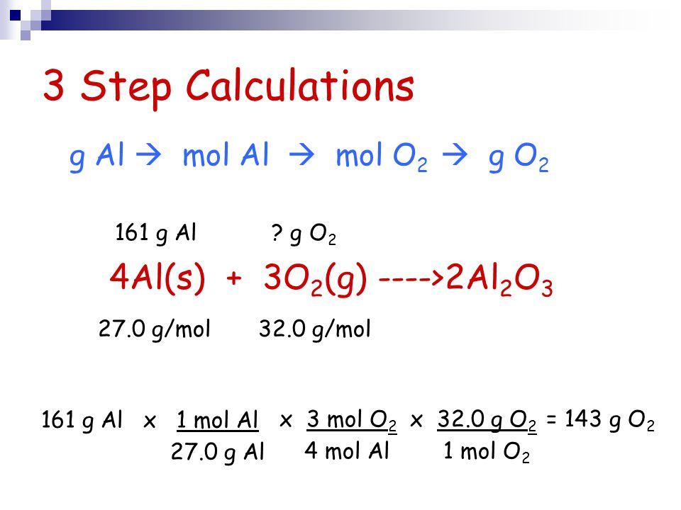 3 Step Calculations 161 g Al x 1 mol Al 27.0 g Al x 3 mol O 2 4 mol Al x 32.0 g O 2 1 mol O 2 4Al(s) + 3O 2 (g) ---->2Al 2 O 3 = 143 g O 2 161 g Al ?