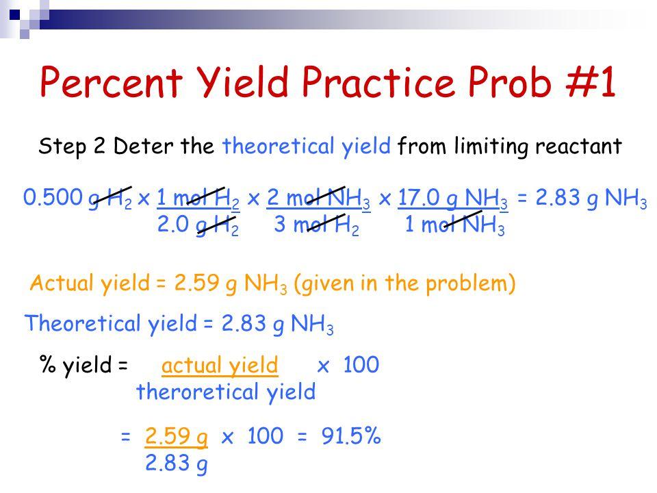 Percent Yield Practice Prob #1 0.500 g H 2 x 2 mol NH 3 3 mol H 2 x 17.0 g NH 3 1 mol NH 3 x 1 mol H 2 2.0 g H 2 = 2.83 g NH 3 Step 2 Deter the theore
