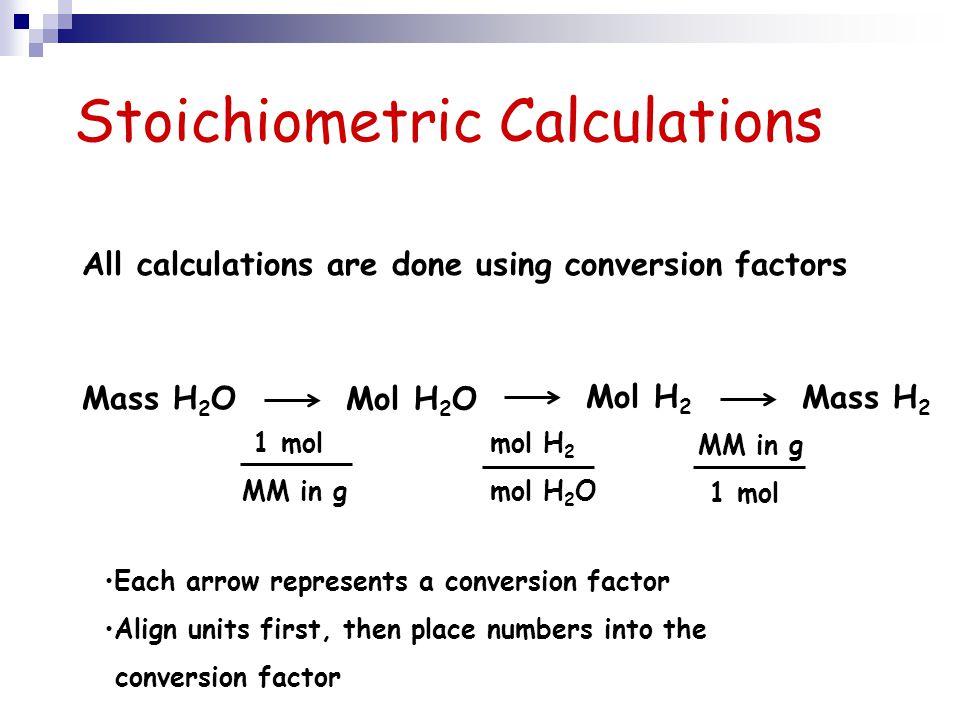 Stoichiometric Calculations Mass H 2 O Mol H 2 O Mol H 2 Mass H 2 1 mol MM in g 1 mol mol H 2 mol H 2 O All calculations are done using conversion fac