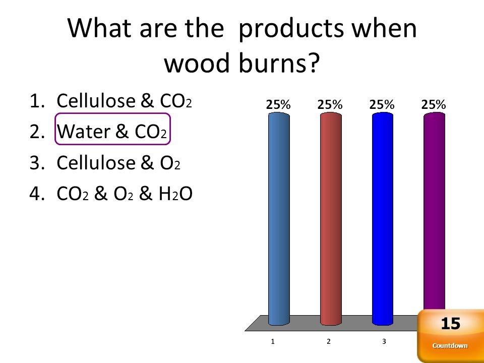 What are the products when wood burns.