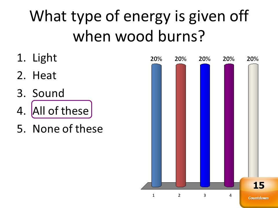 What type of energy is given off when wood burns.