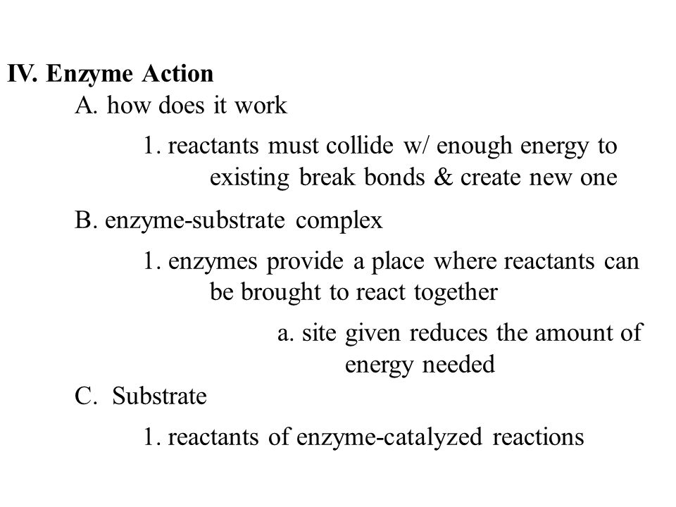 IV. Enzyme Action A. how does it work 1.