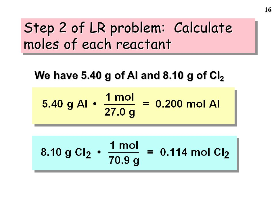 15 If There is not enough Cl 2 to use up all the Al 2 Al + 3 Cl 2 ---> 2AlCl 3 Lim reagent = Cl 2 Deciding on the Limiting Reactant