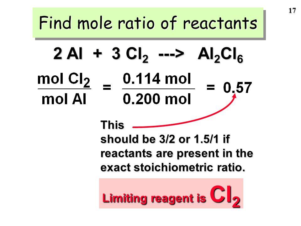 16 We have 5.40 g of Al and 8.10 g of Cl 2 Step 2 of LR problem: Calculate moles of each reactant