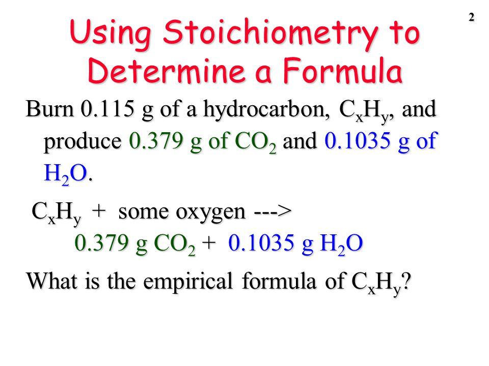 1 STOICHIOMETRYSTOICHIOMETRY DeterminingFormulas
