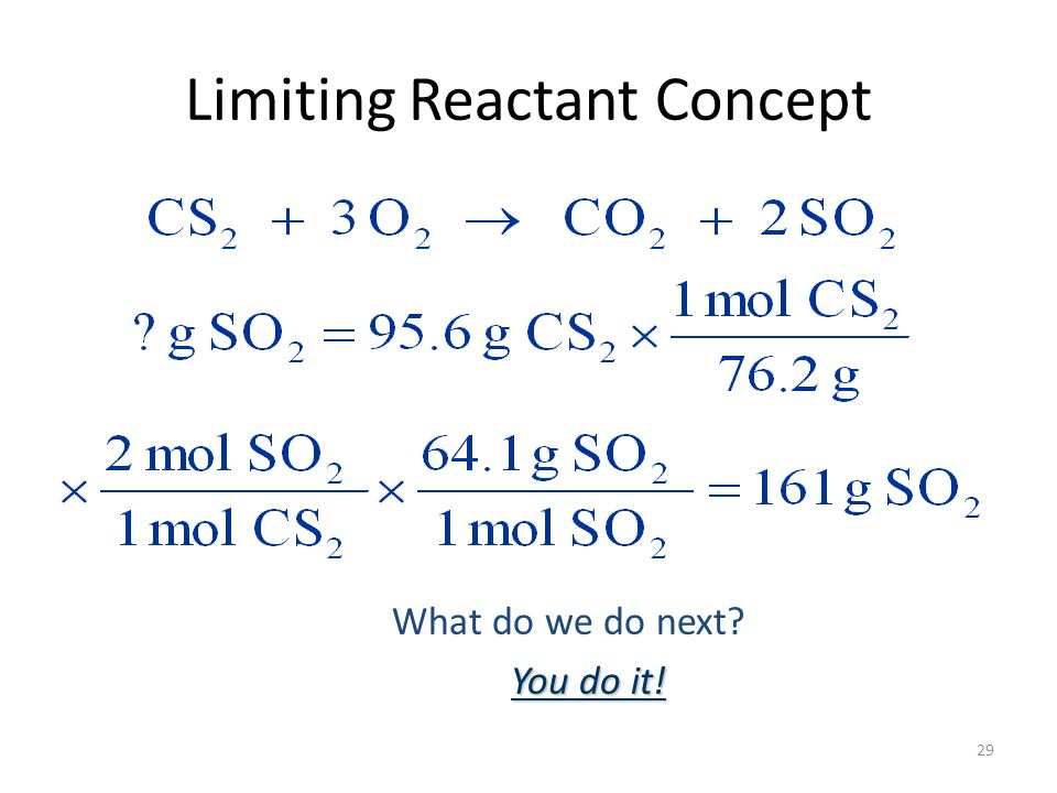 29 Limiting Reactant Concept What do we do next You do it!