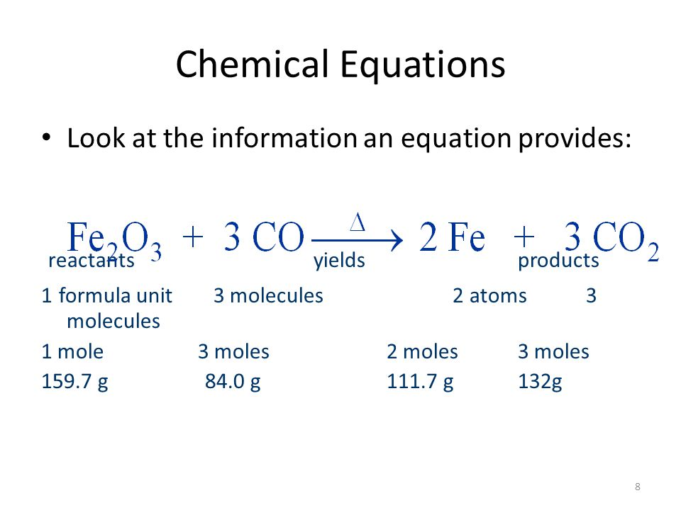 19 Calculations Based on Chemical Equations Example 3-4: What mass of carbon dioxide can be produced by the reaction of 0.540 mole of iron (III) oxide with excess carbon monoxide?