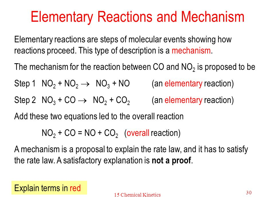 15 Chemical Kinetics 30 Elementary Reactions and Mechanism Elementary reactions are steps of molecular events showing how reactions proceed. This type