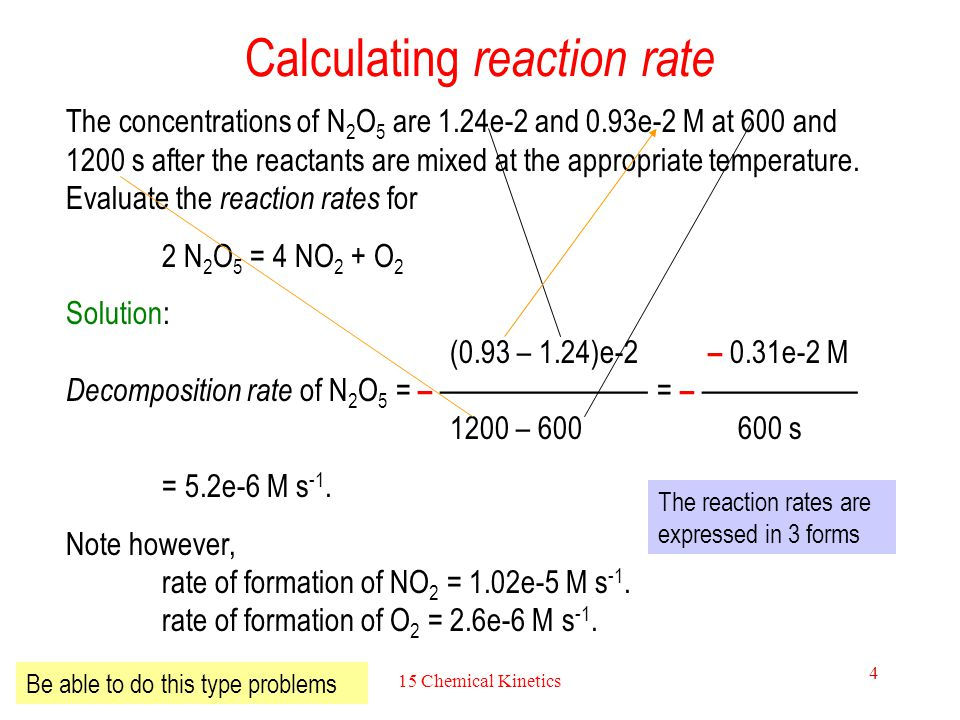 15 Chemical Kinetics 4 Calculating reaction rate The concentrations of N 2 O 5 are 1.24e-2 and 0.93e-2 M at 600 and 1200 s after the reactants are mix