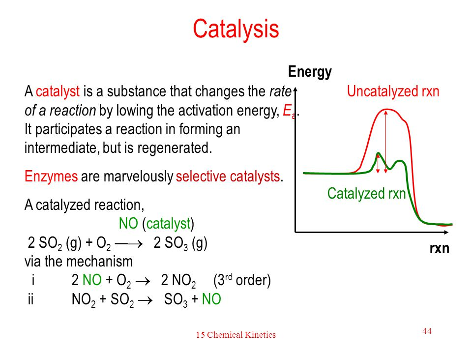 15 Chemical Kinetics 44 Catalysis A catalyst is a substance that changes the rate of a reaction by lowing the activation energy, E a. It participates