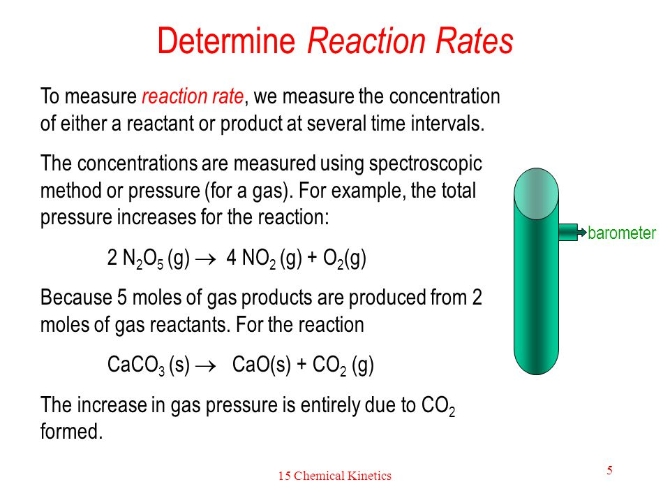 15 Chemical Kinetics 5 Determine Reaction Rates To measure reaction rate, we measure the concentration of either a reactant or product at several time