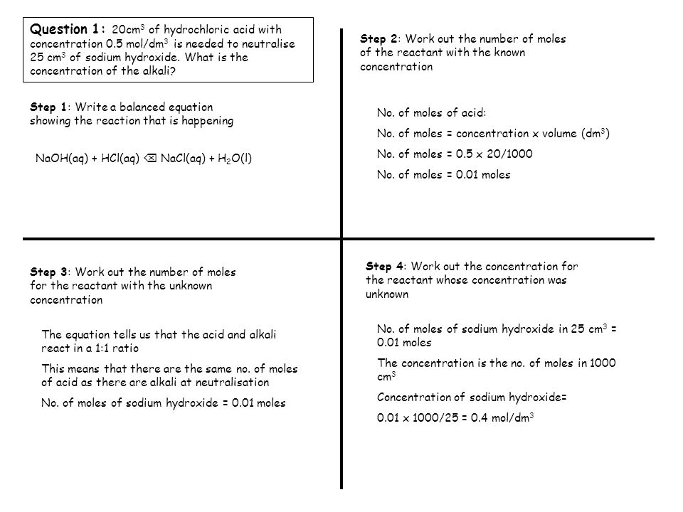 Question 1: 20cm 3 of hydrochloric acid with concentration 0.5 mol/dm 3 is needed to neutralise 25 cm 3 of sodium hydroxide.