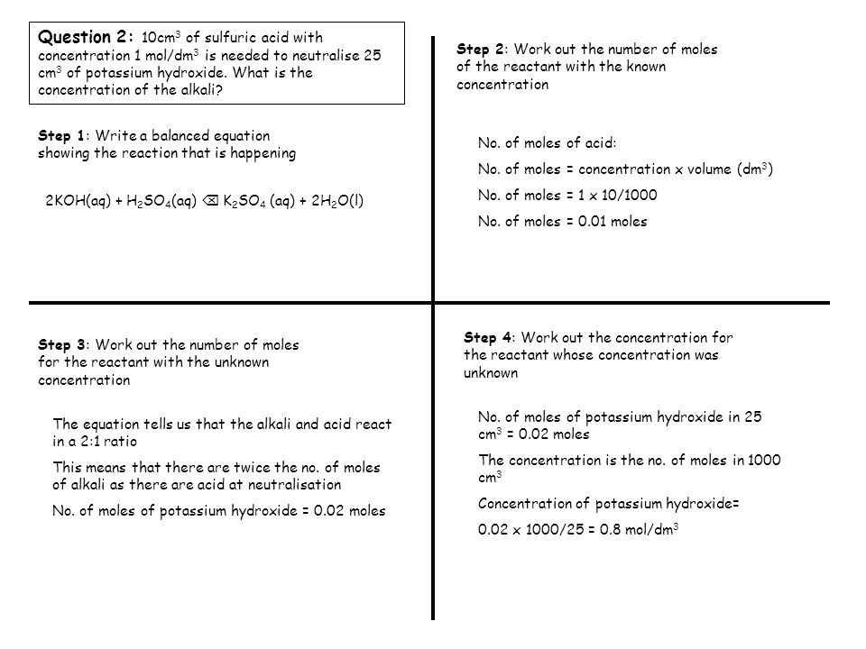 Question 3: 20cm 3 of nitric acid with concentration 0.2 mol/dm 3 is needed to neutralise 15 cm 3 of sodium hydroxide.