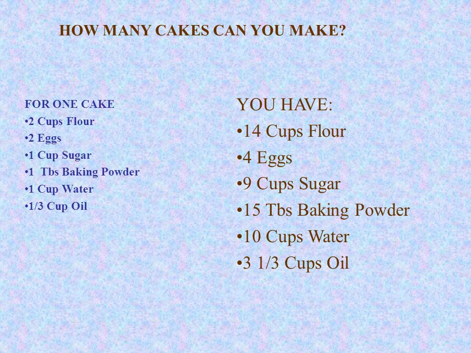 FOR ONE CAKE 2 Cups Flour 2 Eggs 1 Cup Sugar 1 Tbs Baking Powder 1 Cup Water 1/3 Cup Oil YOU HAVE: 14 Cups Flour 4 Eggs 9 Cups Sugar 15 Tbs Baking Powder 10 Cups Water 3 1/3 Cups Oil HOW MANY CAKES CAN YOU MAKE