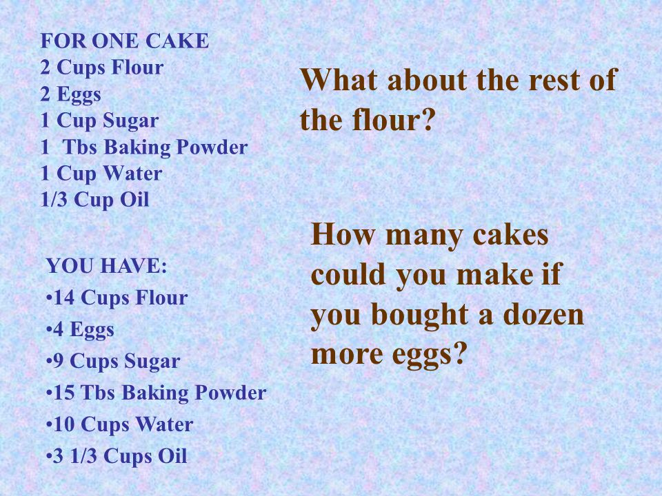 FOR ONE CAKE 2 Cups Flour 2 Eggs 1 Cup Sugar 1 Tbs Baking Powder 1 Cup Water 1/3 Cup Oil YOU HAVE: 14 Cups Flour 4 Eggs 9 Cups Sugar 15 Tbs Baking Powder 10 Cups Water 3 1/3 Cups Oil What about the rest of the flour.