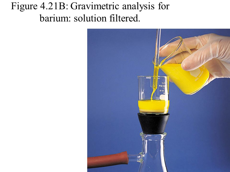 Figure 4.21A: Gravimetric analysis for barium: solution is poured. Photo courtesy of James Scherer.