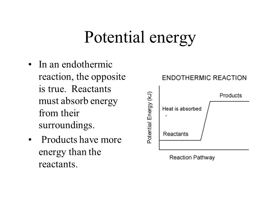 Potential energy In an endothermic reaction, the opposite is true.