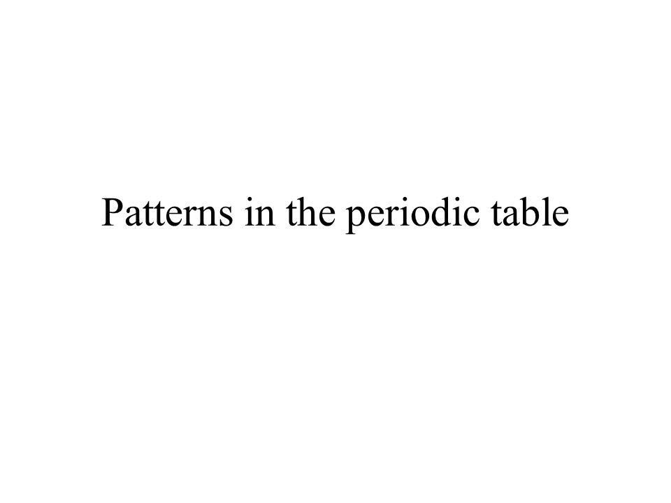Patterns in the periodic table