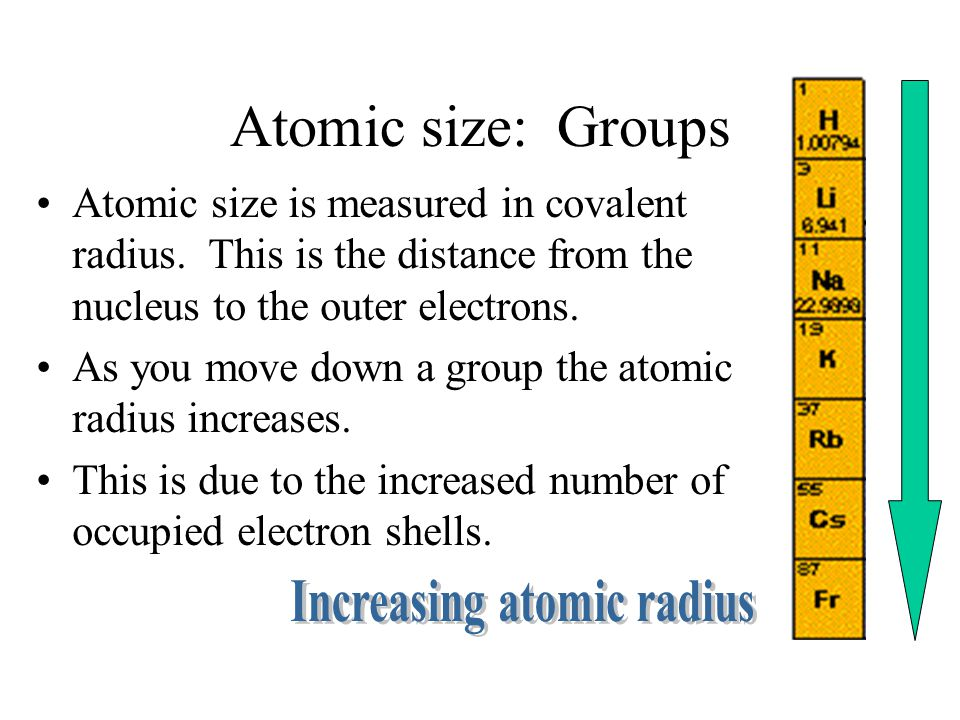 Atomic size: Groups Atomic size is measured in covalent radius.