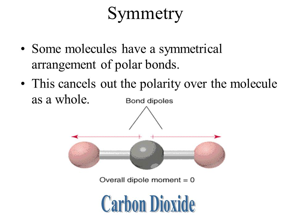 Symmetry Some molecules have a symmetrical arrangement of polar bonds.