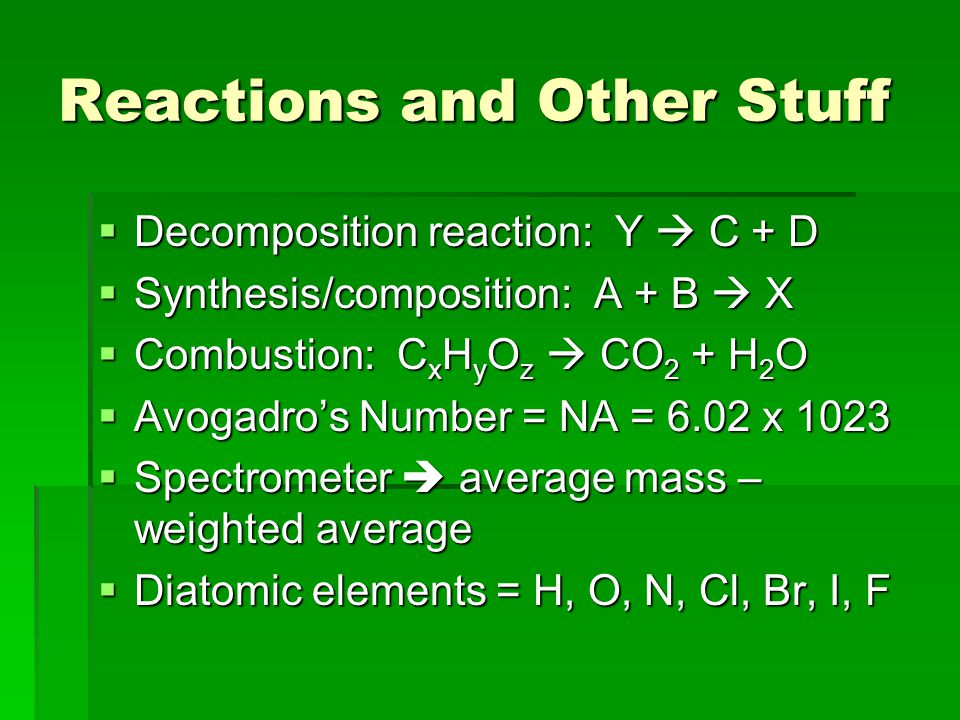 Reactions and Other Stuff  Decomposition reaction: Y  C + D  Synthesis/composition: A + B  X  Combustion: C x H y O z  CO 2 + H 2 O  Avogadro's Number = NA = 6.02 x 1023  Spectrometer  average mass – weighted average  Diatomic elements = H, O, N, Cl, Br, I, F