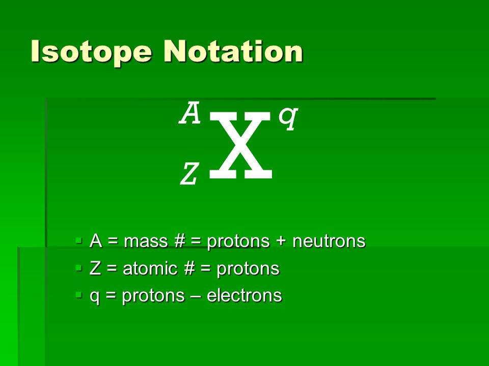Isotope Notation  A = mass # = protons + neutrons  Z = atomic # = protons  q = protons – electrons X A Z q