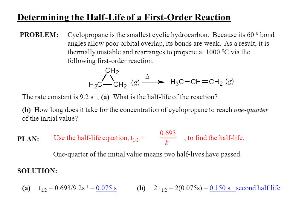 PLAN: SOLUTION: Determining the Half-Life of a First-Order Reaction PROBLEM:Cyclopropane is the smallest cyclic hydrocarbon. Because its 60 0 bond ang