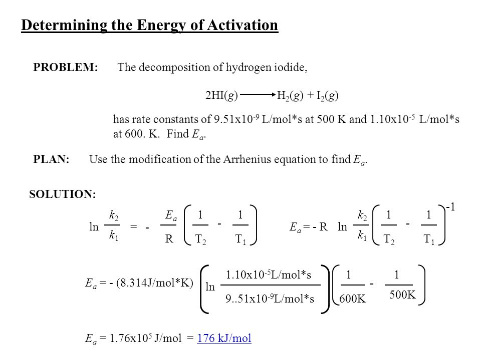 PLAN: SOLUTION: Determining the Energy of Activation PROBLEM:The decomposition of hydrogen iodide, 2HI(g) H 2 (g) + I 2 (g) has rate constants of 9.51
