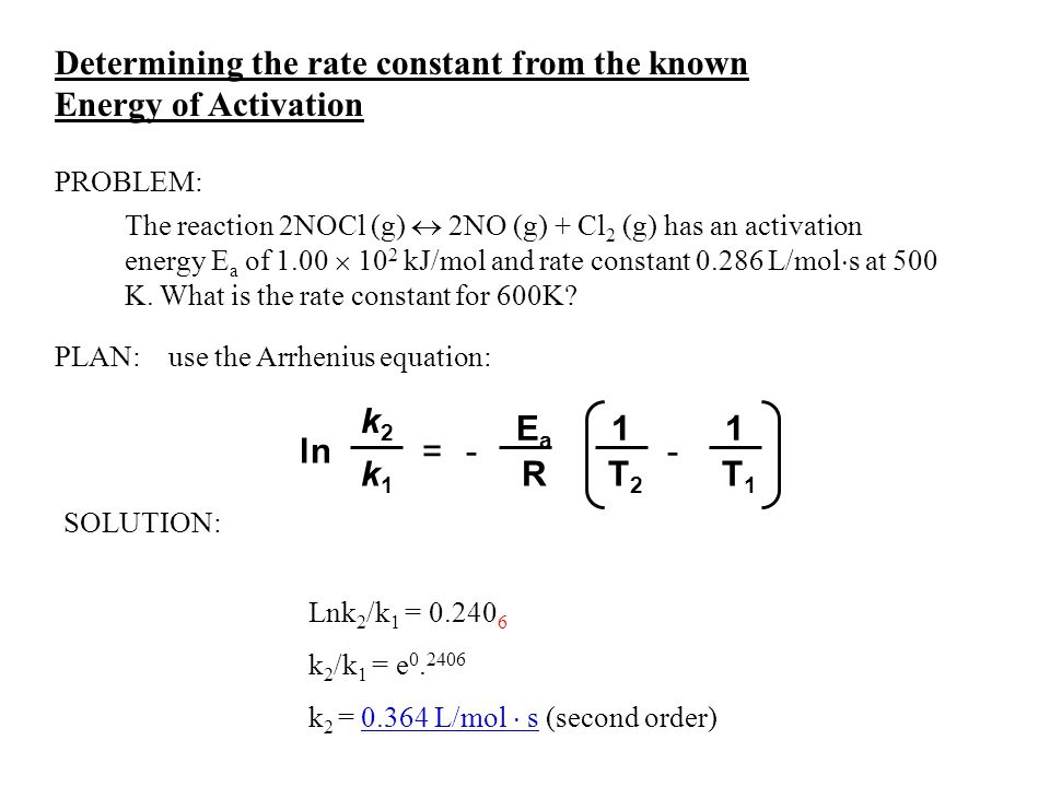 Determining the rate constant from the known Energy of Activation The reaction 2NOCl (g)  2NO (g) + Cl 2 (g) has an activation energy E a of 1.00  1
