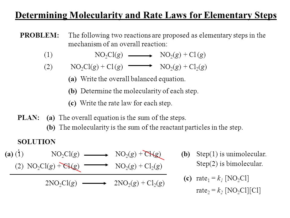 PLAN: SOLUTION : Determining Molecularity and Rate Laws for Elementary Steps PROBLEM:The following two reactions are proposed as elementary steps in t