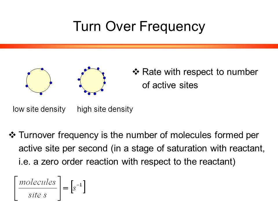 Turn Over Frequency  Rate with respect to number of active sites low site densityhigh site density  Turnover frequency is the number of molecules formed per active site per second (in a stage of saturation with reactant, i.e.